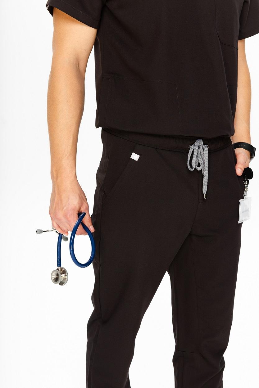 Spodnie medyczne męskie czarne