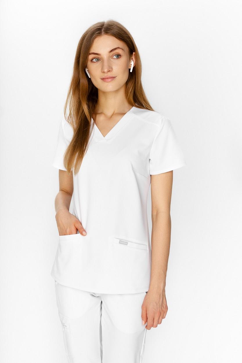 white woman's scrubs top